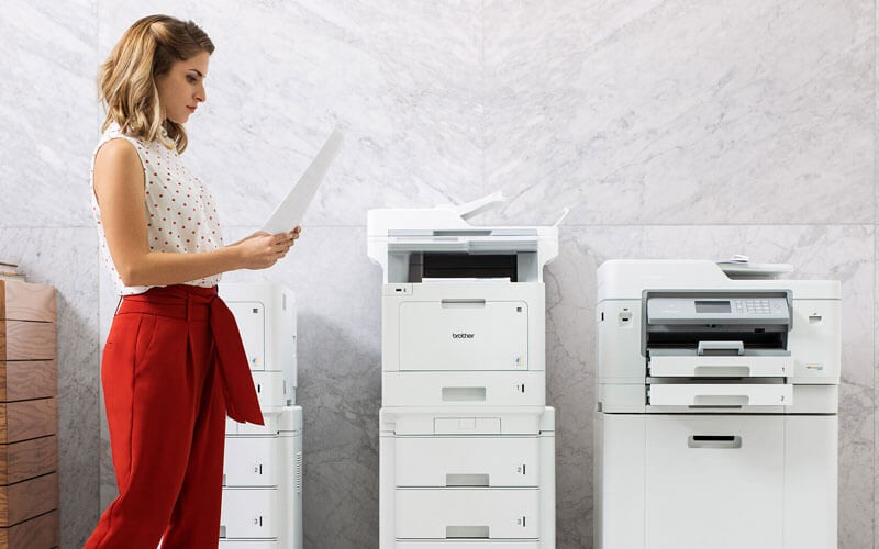 Woman using Brother printers