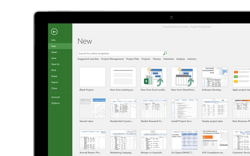 Screenshot of Microsoft Project templates