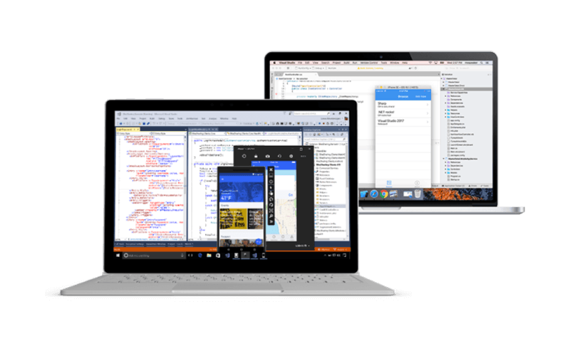 Visual Studio displayed on Mac and Windows devices