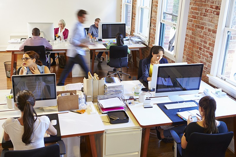 View of business professionals working in office environment